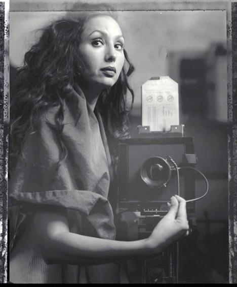 Self portrait on polaroid 55 in mirror with Sinar  technical camera